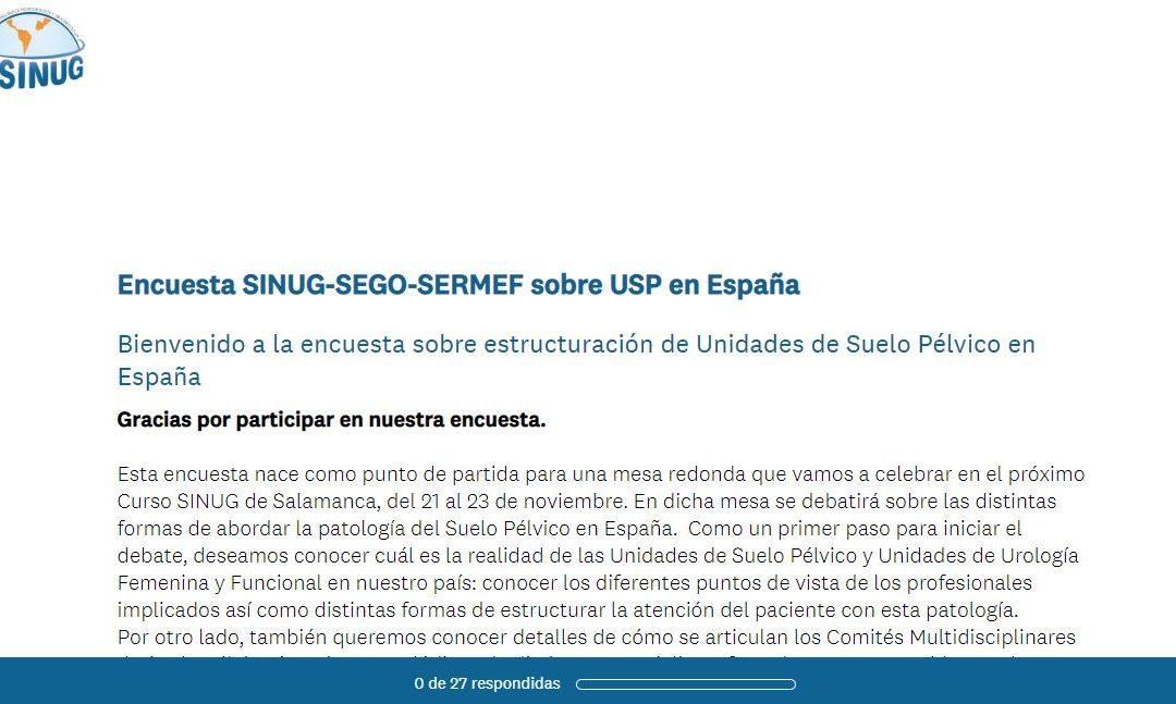 SINUG pone en marcha junto a SEGO y SERMEF una encuesta sobre la estructuración de Unidades de Suelo Pélvico en España